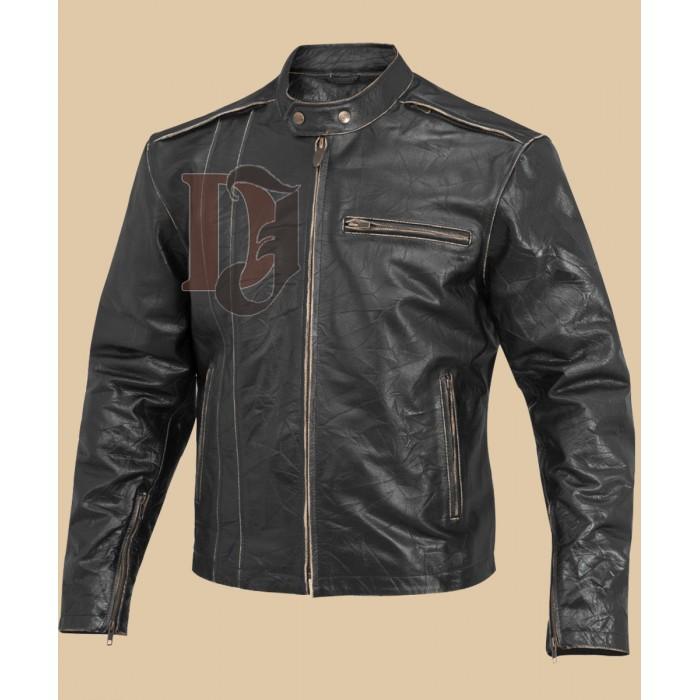Men Biker distressed leather jacket-1-700×700