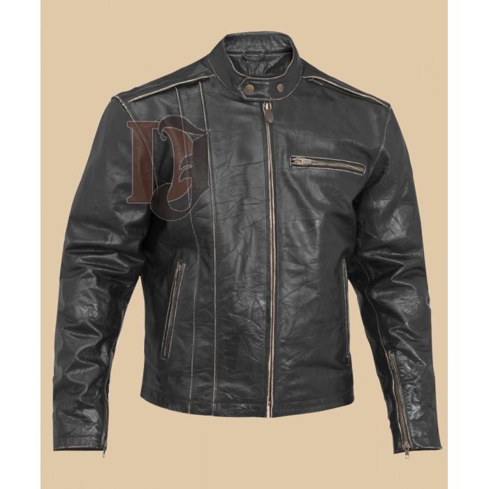 Men Biker distressed leather jacket-3-700×700