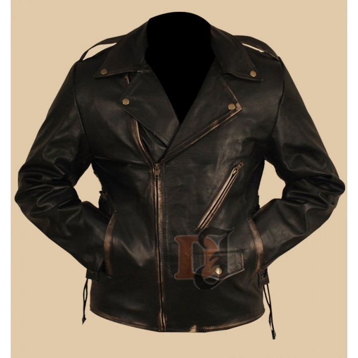Heavy Duty (Brando) Black Distressed Motorcycle Jacket-700×700