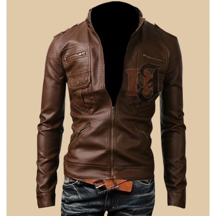 Mens Light Brown Zip Pocket Rider Leather Jacket-700×700