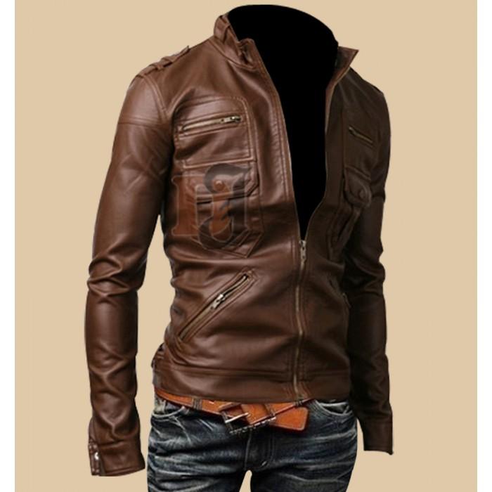 Mens Light Brown Zip Pocket Rider Leather Jacket1-700×700