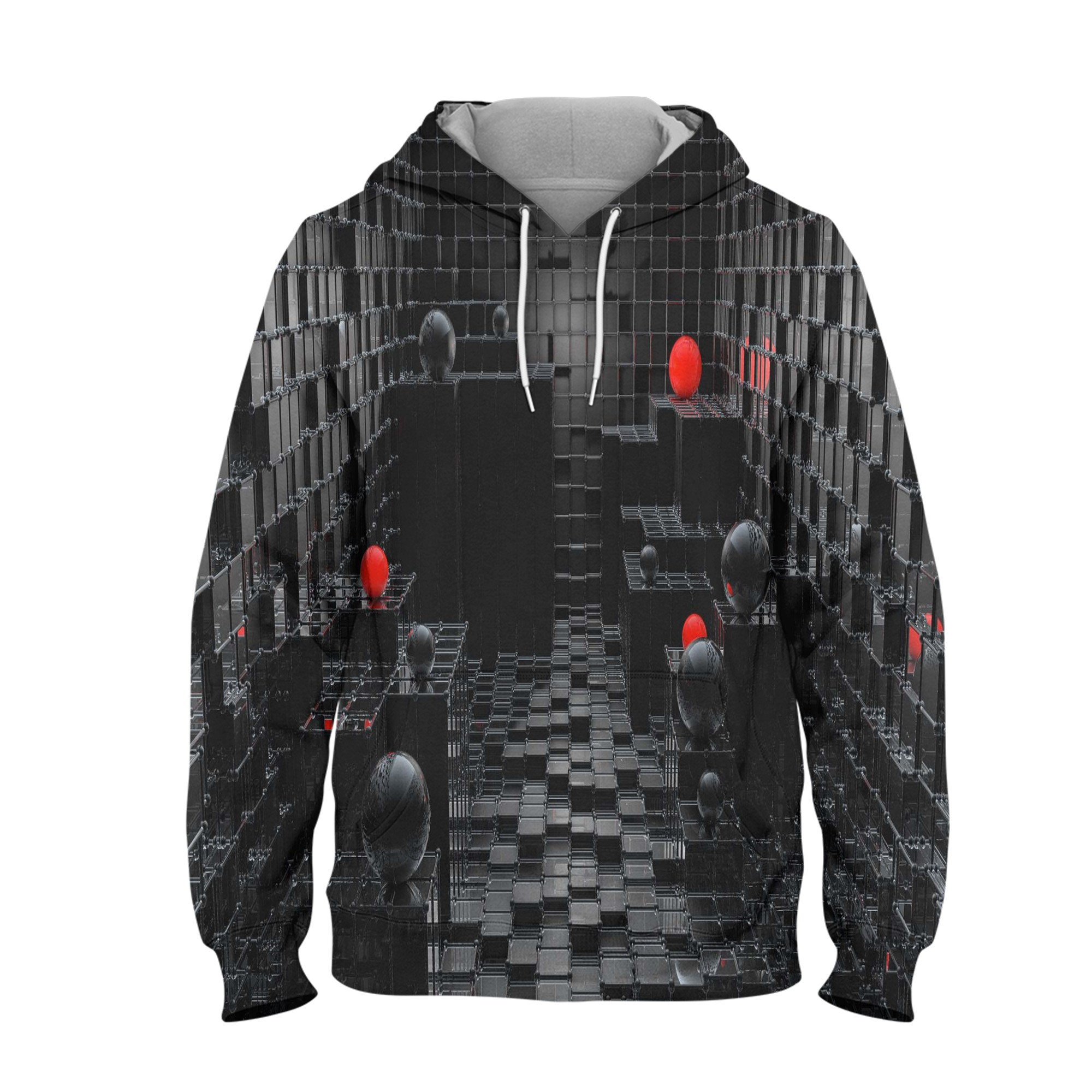 Abstract Black Balls Hoodie – 3D Printed Pullover Hoodie
