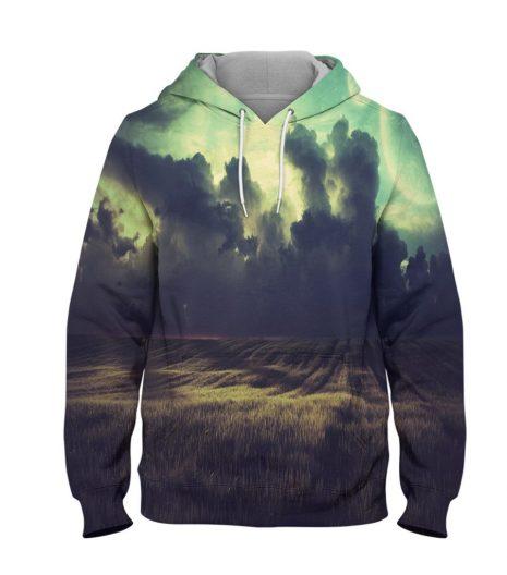 Abstract Cloudy Field Hoodie – 3D Printed Pullover Hoodie