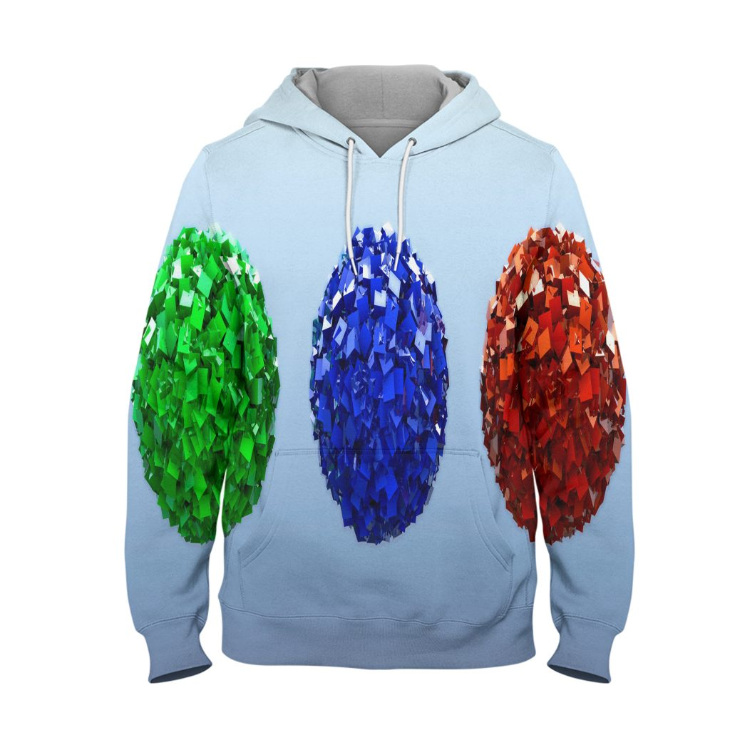Abstract Crystal Colour Hoodie – 3D Printed Pullover Hoodie