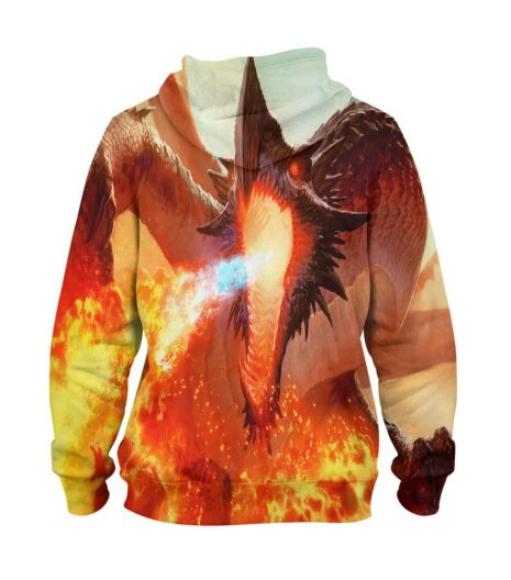 Abstract Volcano Dragon Hoodie – 3D Printed Pullover Hoodie