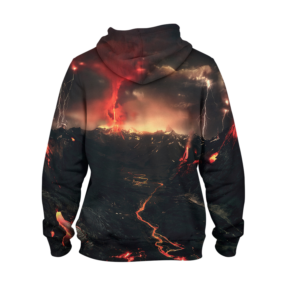 Abstract Volcano Hoodie – 3D Printed Pullover Hoodie1