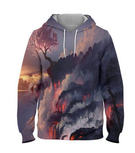 Abstract Volcano Tree Hoodie – 3D Printed Pullover Hoodie