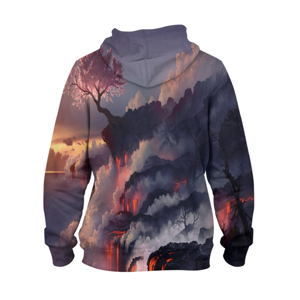 Abstract Volcano Tree Hoodie – 3D Printed Pullover Hoodie1