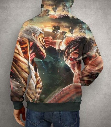 Anime Action Attack on Titan Hoodie – 3D Printed Pullover Hoodie