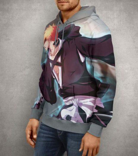 Anime Bleach Ichigo Bankai Hoodie – 3D Printed Pullover Hoodie