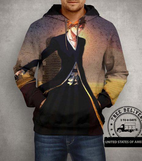 Anime Bleach Ichigo Kurosaki Hoodie – 3D Printed Pullover Hoodie