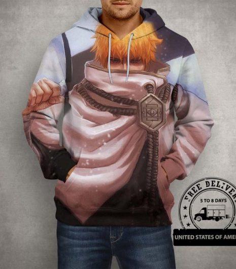 Anime Bleach Ichigo Kurosaki Shinigami Hoodie – 3D Printed Pullover Hoodie