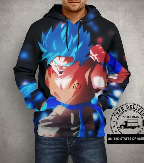 Anime Dragon Ball Z Goku with Sword Hoodie – 3D Printed Pullover Hoodie