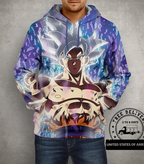 Anime Dragon Ball Z Super Son Goku Ultra Instinct Hoodie – 3D Printed Pullover Hoodie