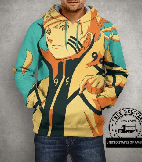 Anime Naruto 9 Tails Uzumaki Hoodie – 3D Printed Pullover Hoodie