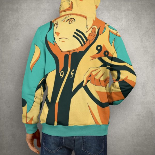 Anime Naruto 9 Tails Uzumaki Hoodie – 3D Printed Pullover Hoodie3