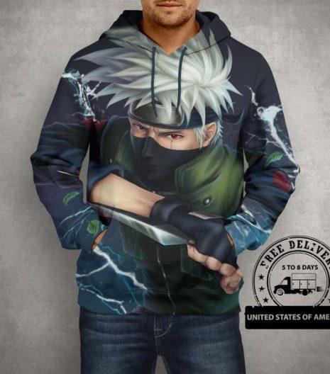 Anime Naruto Kakashi Hatake Hoodie – 3D Printed Pullover Hoodie