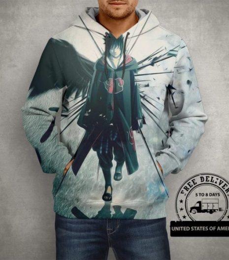 Anime Naruto Sasuke Uchiha Hoodie – 3D Printed Pullover Hoodie
