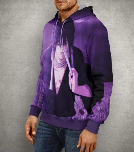 Anime Naruto Sasuke Uchiha Purple Hoodie – 3D Printed Pullover Hoodie