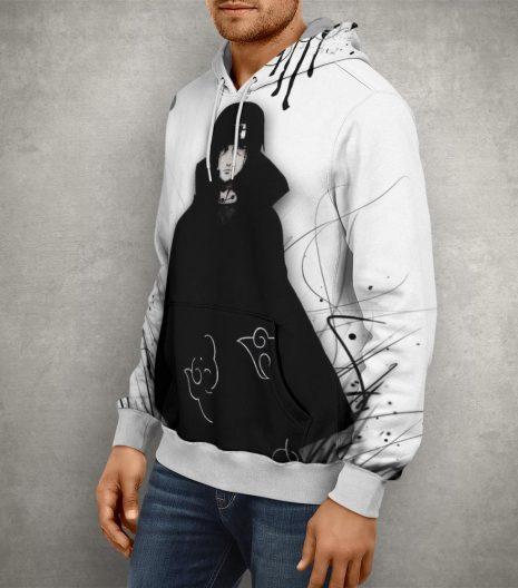 Anime Naruto Uchiha Sasuke Black & White Hoodie – 3D Printed Pullover Hoodie
