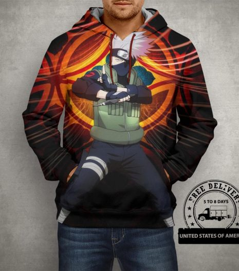 Anime Naruto Uzumaki Nine Tailed Fox Hoodie – 3D Printed Pullover Hoodie