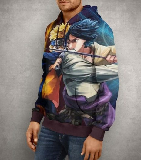 Anime Naruto Vs Sasuke Hoodie – 3D Printed Pullover Hoodie