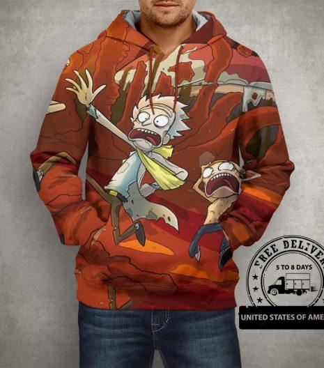 Anime Rick & Morty Brown Hoodie – 3D Printed Pullover Hoodie
