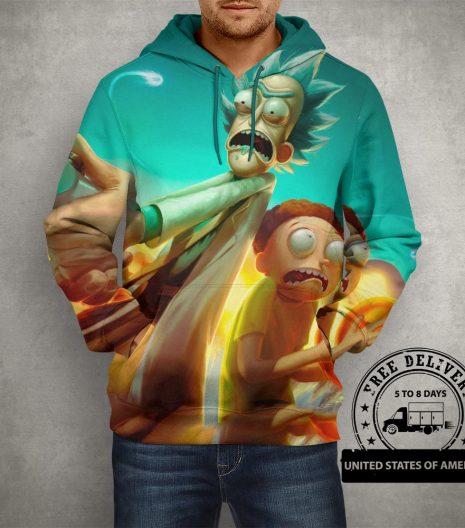Anime Rick & Morty Fan Art Hoodie – 3D Printed Pullover Hoodie