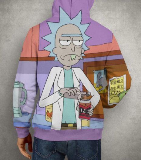 Anime Rick & Morty Purple Hoodie – 3D Printed Pullover Hoodie