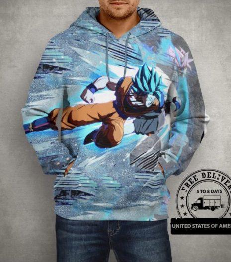 Anime Super Saiyan Blue Goku 3D Print Pullover Hoodie