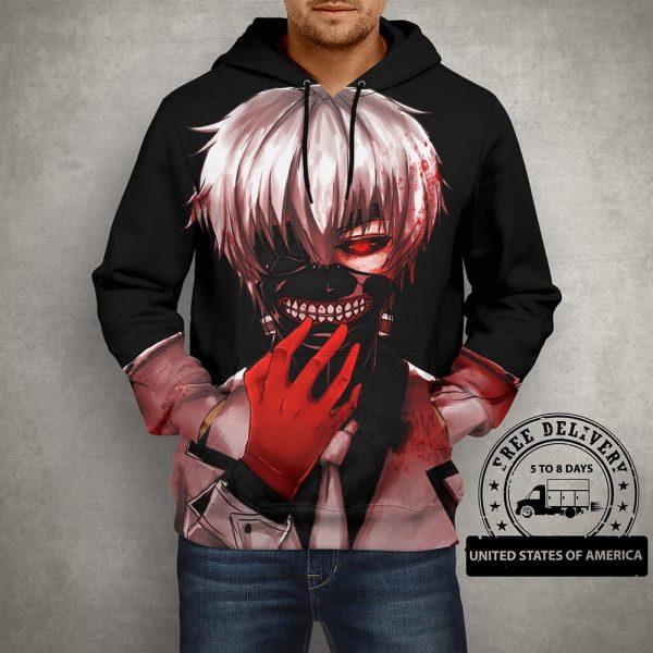 Anime Tokyo Ghoul Black Hoodie – 3D Printed Pullover Hoodie