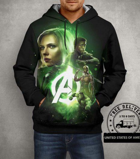 Avangers Team Black & Green Hoodie – 3D Printed Pullover Hoodie