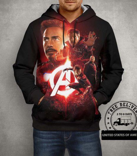 Avangers Team Black & Red Hoodie – 3D Printed Pullover Hoodie