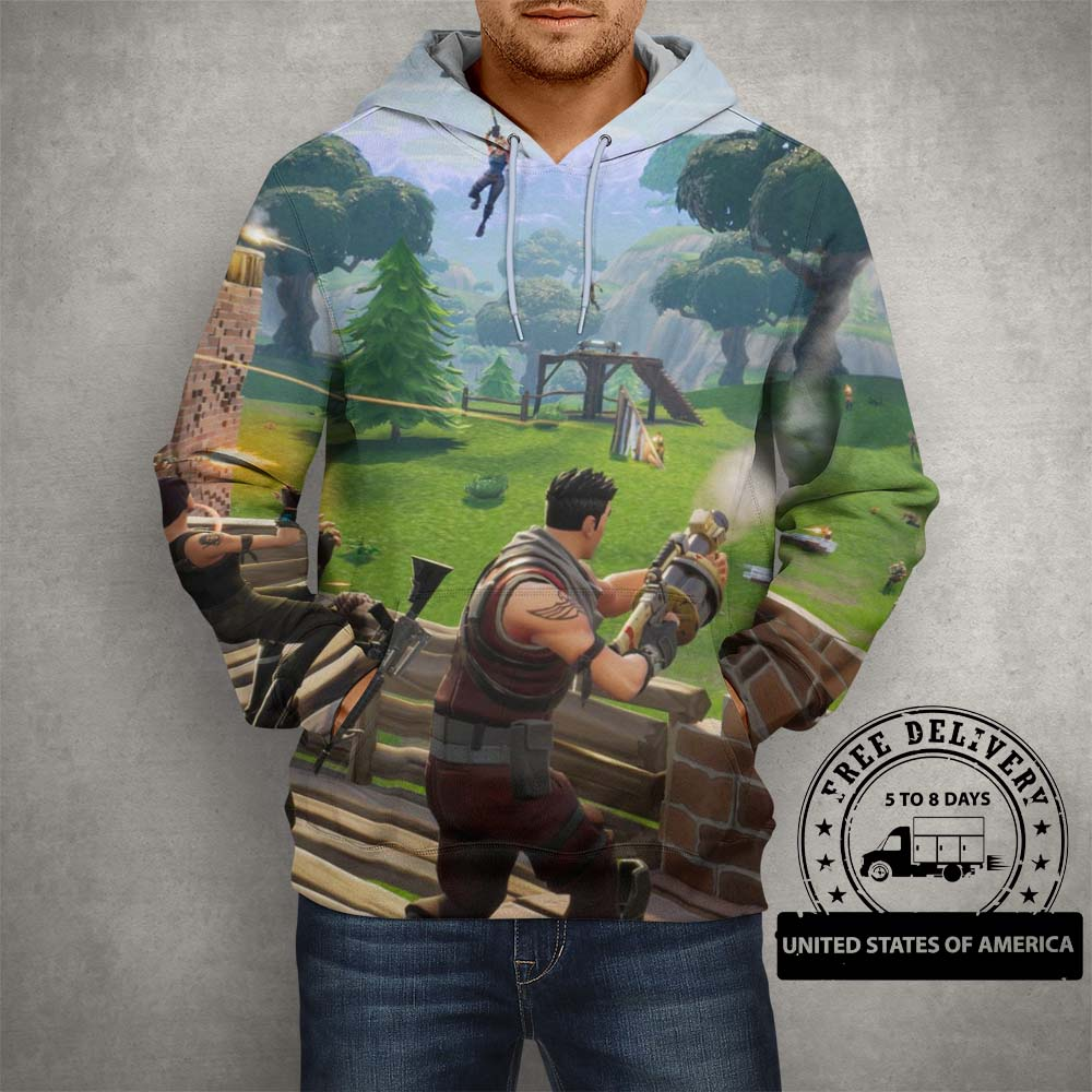 Battle Royale Fortnite Season Four Hoodie – 3D Printed Pullover Hoodie