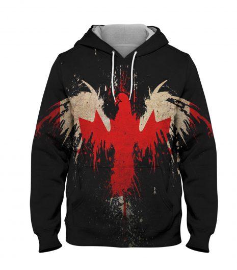 Canada Flag Eagle Hoodie – 3D Printed Pullover Hoodie