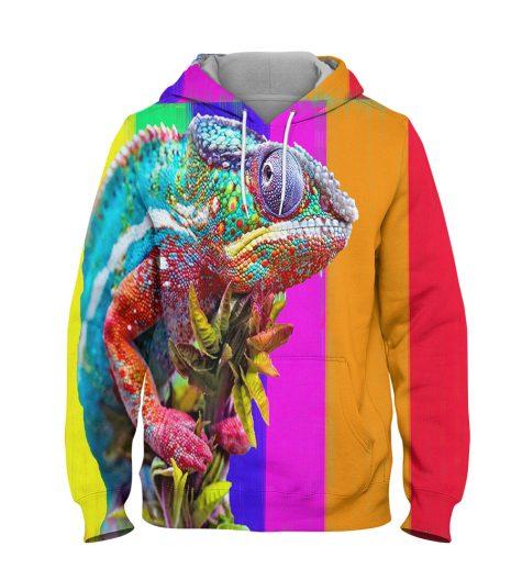 Color Lizard Hoodie – 3D Printed Pullover Hoodie