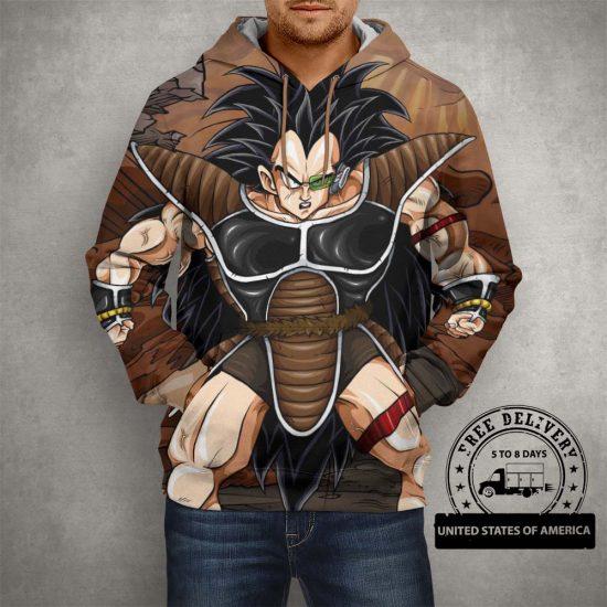 Dragon Ball Z Raditz Brown Hoodie – 3D Printed Pullover Hoodie