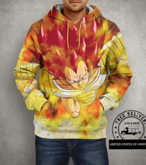 Dragon Ball Z Raditz Yellow Hoodie – 3D Printed Pullover Hoodie