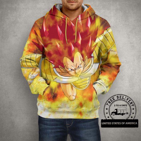 Dragon Ball Z Raditz Yellow Hoodie – 3D Printed Pullover Hoodie
