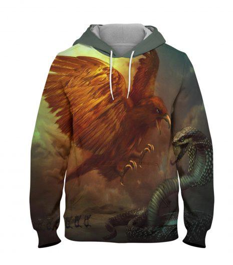 Eagle & Snake – 3D Printed Pullover Hoodie