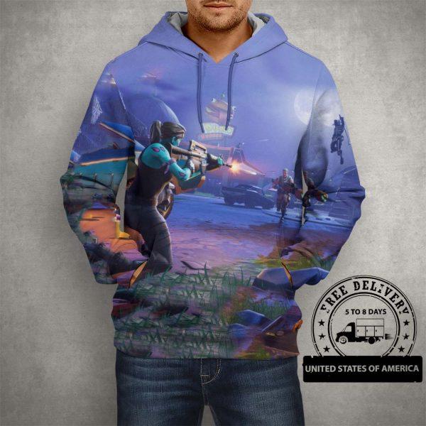 Fortnite Battle Royale Action Hoodie – 3D Printed Pullover Hoodie