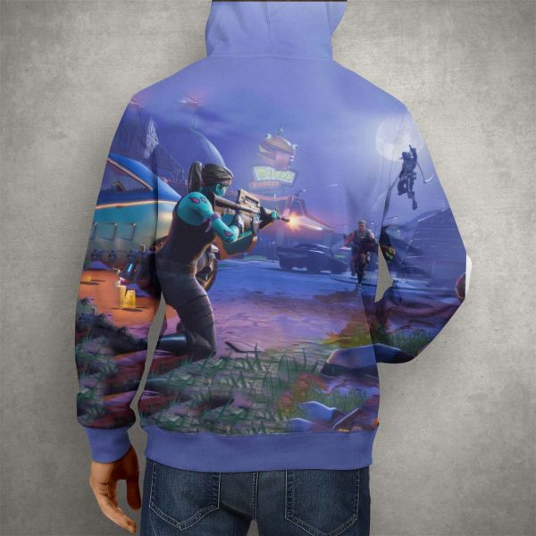 Fortnite Battle Royale Action Hoodie – 3D Printed Pullover Hoodie2