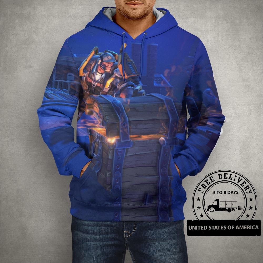 Fortnite Battle Royale Blue Hoodie – 3D Printed Pullover Hoodie