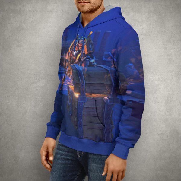 Fortnite Battle Royale Blue Hoodie – 3D Printed Pullover Hoodie1