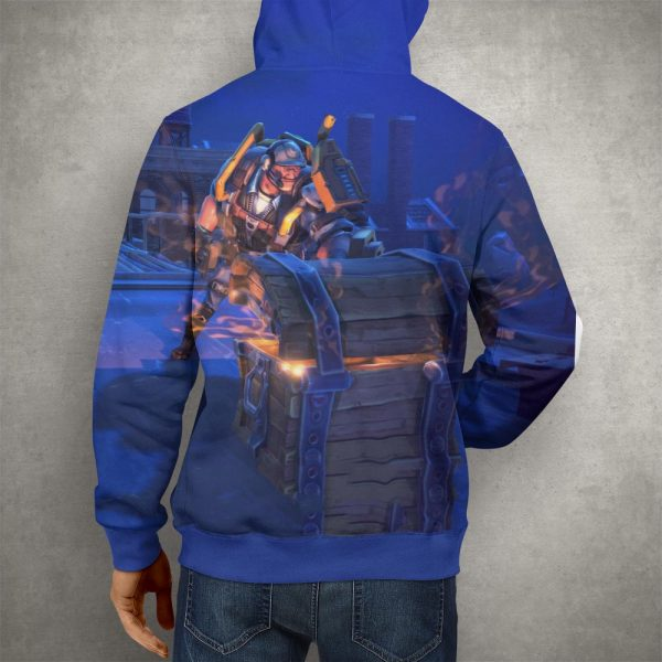 Fortnite Battle Royale Blue Hoodie – 3D Printed Pullover Hoodie2