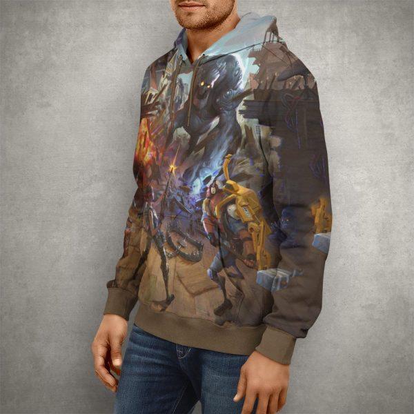 Fortnite Battle Royale Brown Hoodie – 3D Printed Pullover Hoodie1