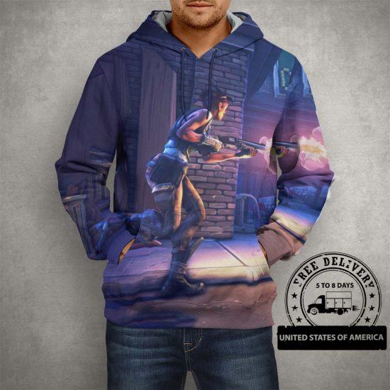 Fortnite Battle Royale Fighting Action Purple Hoodie – 3D Printed Pullover Hoodie