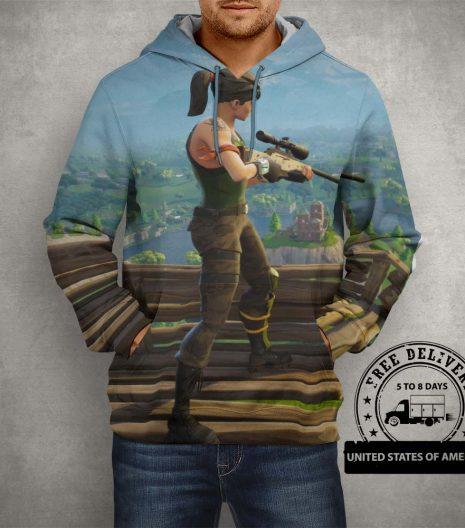 Fortnite Battle Royale Sniper Hoodie – 3D Printed Pullover Hoodie