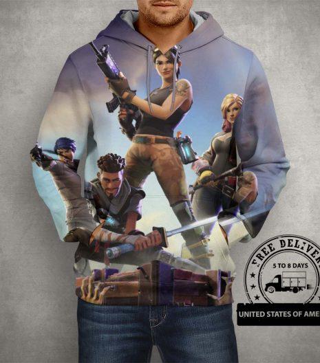 Fortnite Battle Royale Team Hoodie – 3D Printed Pullover Hoodie