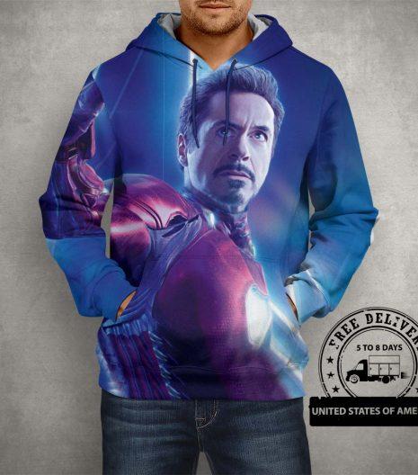 Iron Man Blue Hoodie – 3D Printed Pullover Hoodie